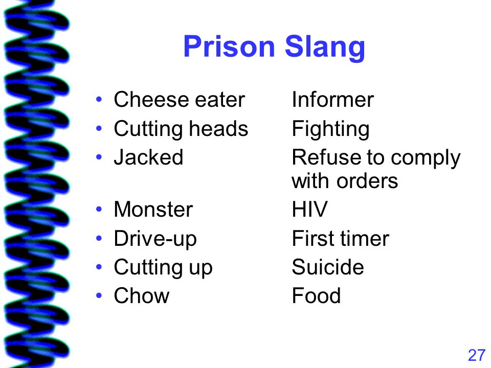 27 Prison Slang Cheese eaterInformer Cutting headsFighting JackedRefuse to comply with orders MonsterHIV Drive-upFirst timer Cutting upSuicide ChowFood