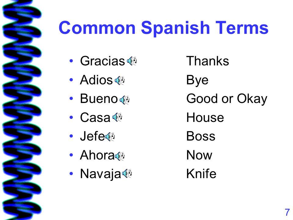 7 Common Spanish Terms GraciasThanks AdiosBye BuenoGood or Okay CasaHouse JefeBoss AhoraNow NavajaKnife