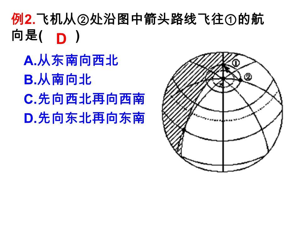 例 2. 飞机从②处沿图中箭头路线飞往①的航 向是 ( ) A. 从东南向西北 B. 从南向北 C. 先向西北再向西南 D. 先向东北再向东南 D