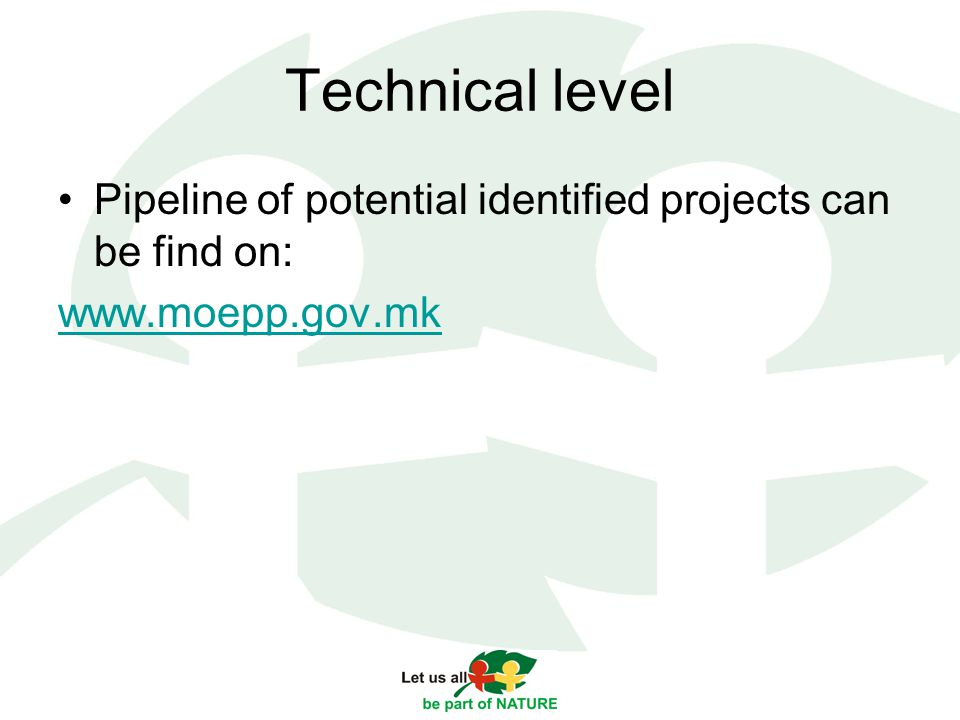 Technical level Pipeline of potential identified projects can be find on: