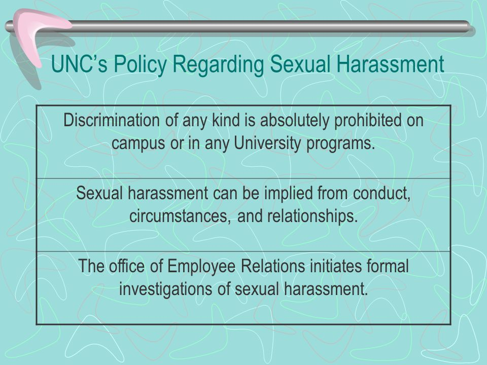 UNC's Policy Regarding Sexual Harassment Discrimination of any kind is absolutely prohibited on campus or in any University programs.