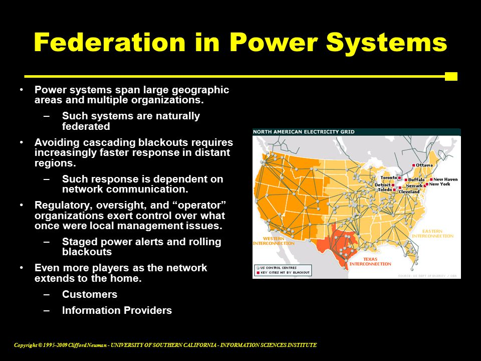 Copyright © Clifford Neuman - UNIVERSITY OF SOUTHERN CALIFORNIA - INFORMATION SCIENCES INSTITUTE Power systems span large geographic areas and multiple organizations.