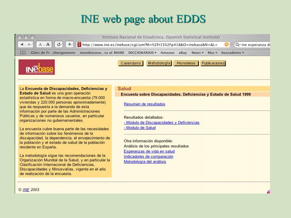 INE web page about EDDS