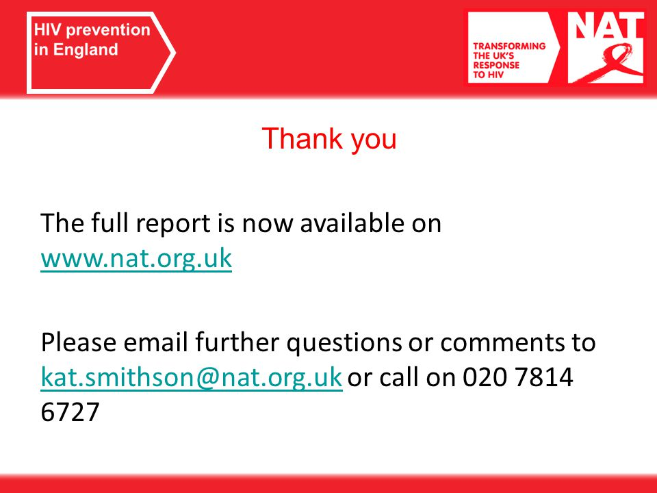 Thank you The full report is now available on     Please  further questions or comments to or call on