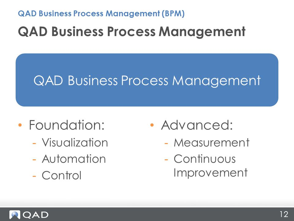 12 QAD Business Process Management QAD Business Process Management (BPM) Foundation: -Visualization -Automation -Control Advanced: -Measurement -Continuous Improvement QAD Business Process Management