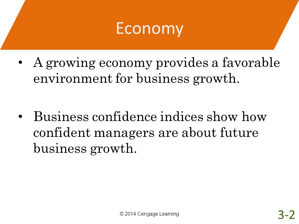 Economy A growing economy provides a favorable environment for business growth. Business confidence indices show how confident managers are about futu
