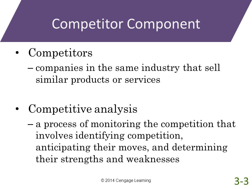 Competitor Component Competitors – companies in the same industry that sell similar products or services Competitive analysis – a process of monitorin