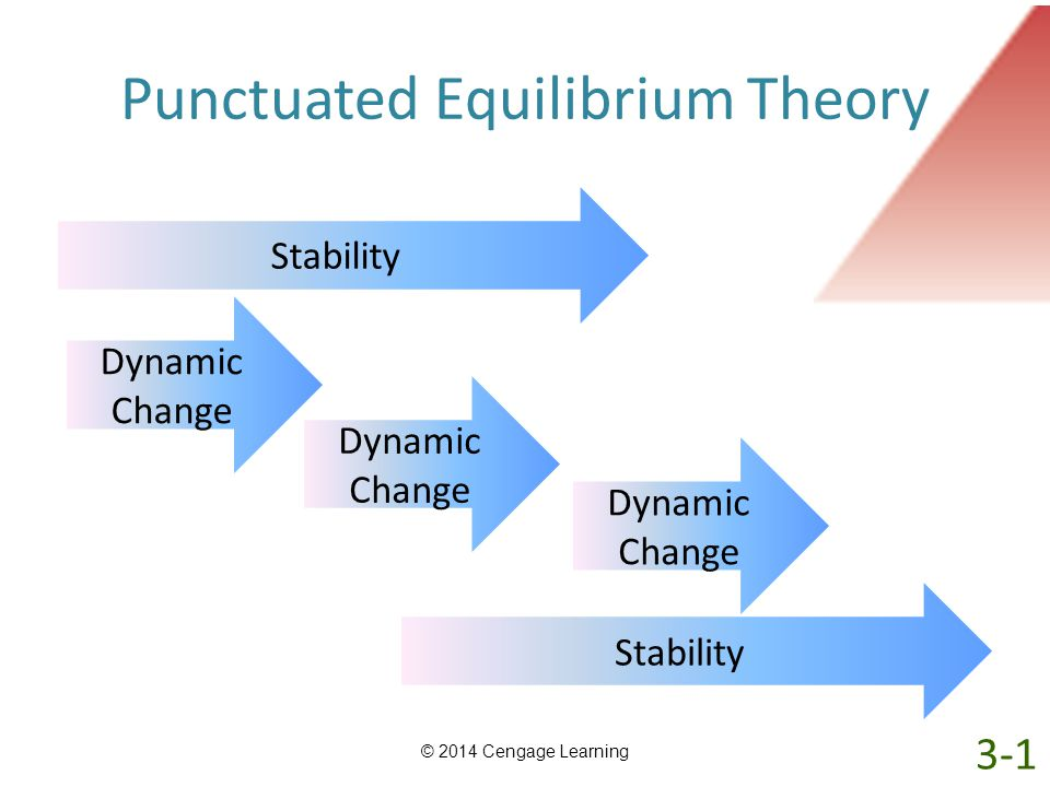 Punctuated Equilibrium Theory © 2014 Cengage Learning Stability Dynamic Change Stability Dynamic Change 3-1