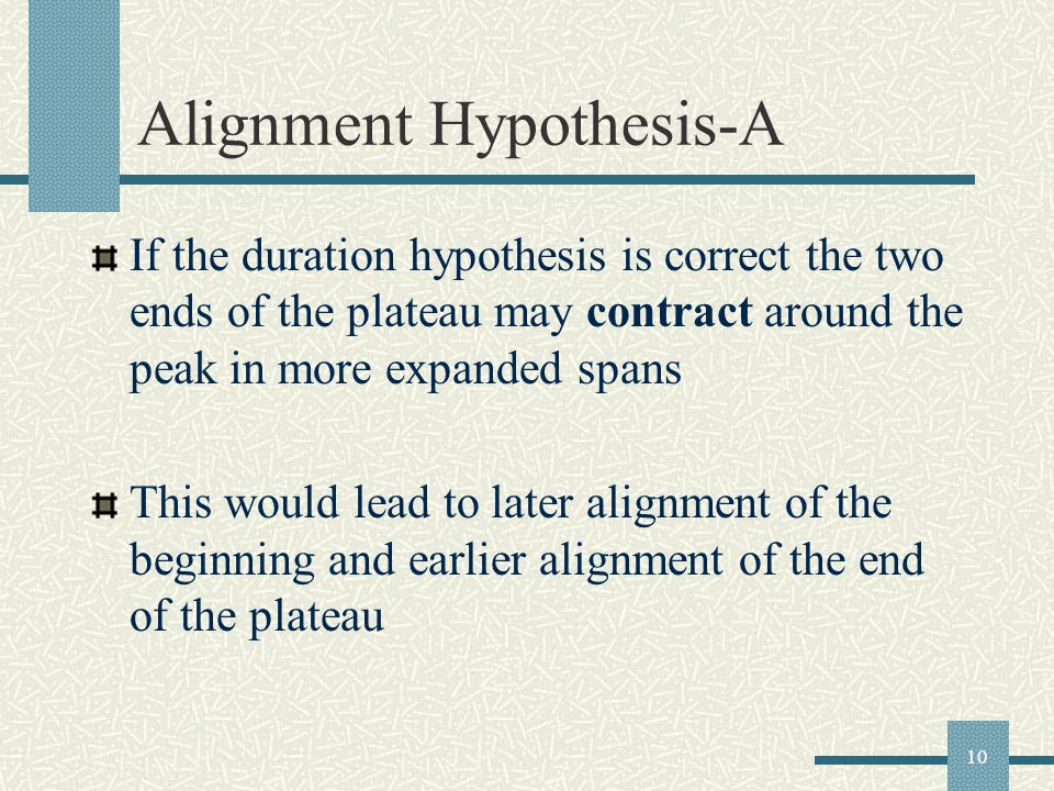10 Alignment Hypothesis-A If the duration hypothesis is correct the two ends of the plateau may contract around the peak in more expanded spans This would lead to later alignment of the beginning and earlier alignment of the end of the plateau