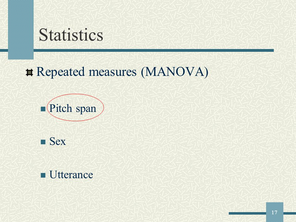 17 Statistics Repeated measures (MANOVA) Pitch span Sex Utterance