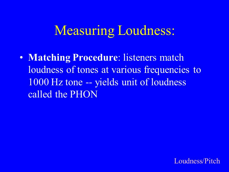 Measuring Loudness: Matching Procedure: listeners match loudness of tones at various frequencies to 1000 Hz tone -- yields unit of loudness called the PHON Loudness/Pitch