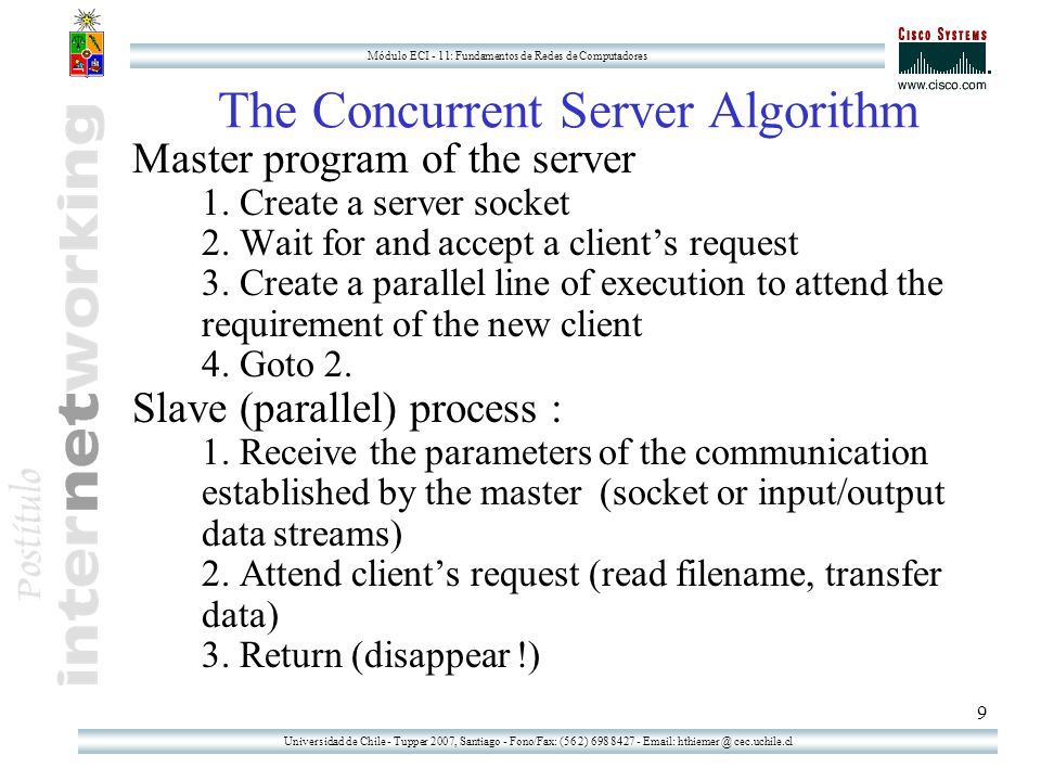Universidad de Chile - Tupper 2007, Santiago - Fono/Fax: (56 2) 698 8427 - Email: hthiemer @ cec.uchile.cl Módulo ECI - 11: Fundamentos de Redes de Computadores 9 The Concurrent Server Algorithm Master program of the server 1.