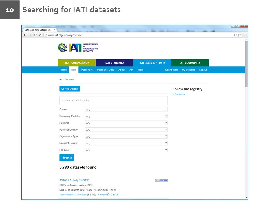 Searching for IATI datasets 10