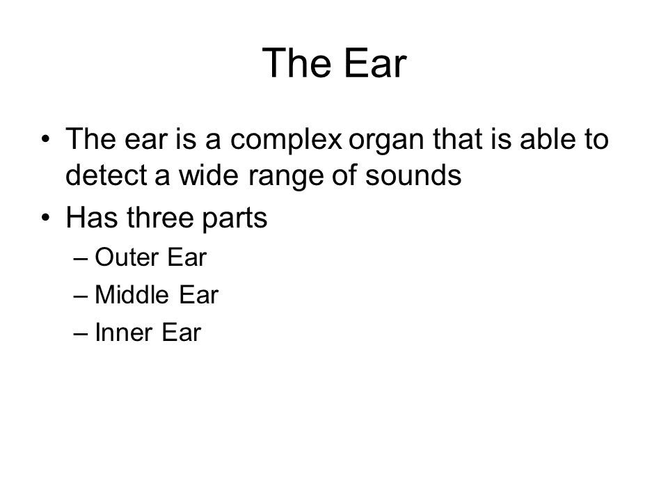 The Ear The ear is a complex organ that is able to detect a wide range of sounds Has three parts –Outer Ear –Middle Ear –Inner Ear