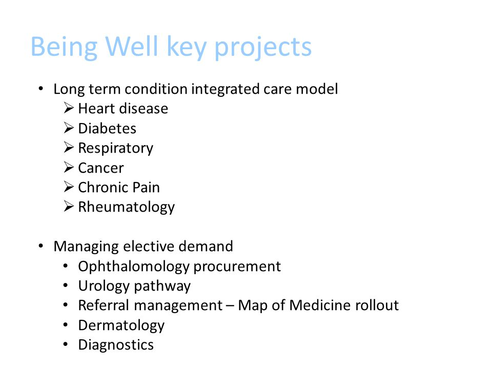 Being Well key projects Long term condition integrated care model  Heart disease  Diabetes  Respiratory  Cancer  Chronic Pain  Rheumatology Managing elective demand Ophthalomology procurement Urology pathway Referral management – Map of Medicine rollout Dermatology Diagnostics