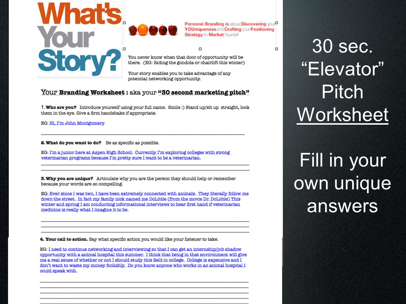 30 sec elevator pitch examples