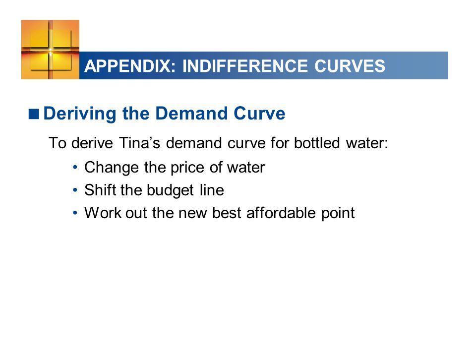 APPENDIX: INDIFFERENCE CURVES  Deriving the Demand Curve To derive Tina's demand curve for bottled water: Change the price of water Shift the budget line Work out the new best affordable point