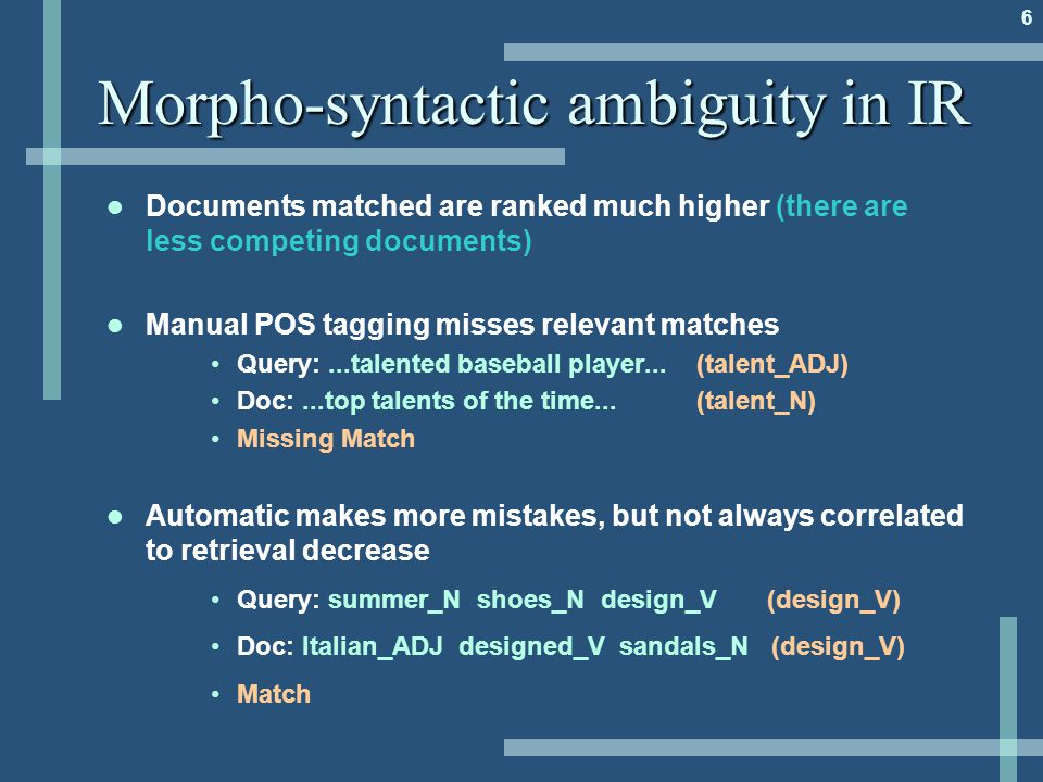 6 Morpho-syntactic ambiguity in IR Documents matched are ranked much higher (there are less competing documents) Manual POS tagging misses relevant matches Query:...talented baseball player...