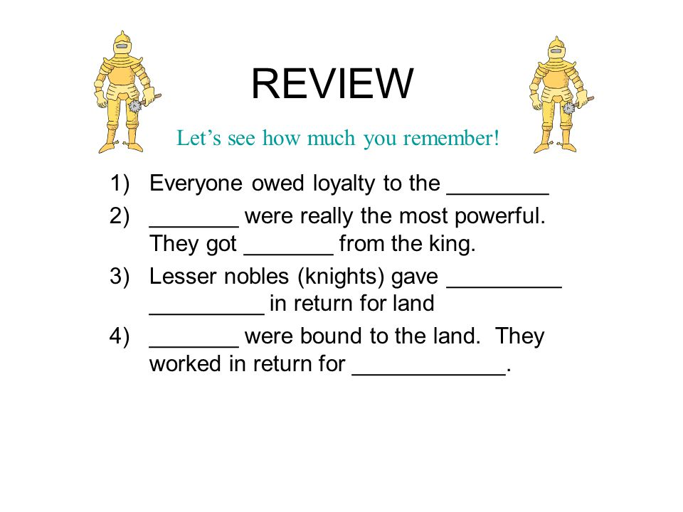 Activity – Read and Answer – Feudalism