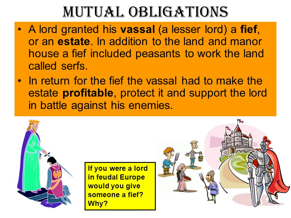Feudalism A loosely organized system of rule in which powerful local lords divided their landholdings among lesser lords, or vassals, who pledged service and loyalty to the greater lord.