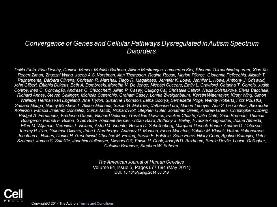 Convergence of Genes and Cellular Pathways Dysregulated in Autism Spectrum Disorders Dalila Pinto, Elsa Delaby, Daniele Merico, Mafalda Barbosa, Alison Merikangas, Lambertus Klei, Bhooma Thiruvahindrapuram, Xiao Xu, Robert Ziman, Zhuozhi Wang, Jacob A.S.