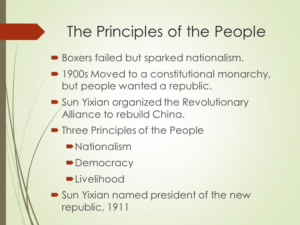 The Principles of the People  Boxers failed but sparked nationalism.