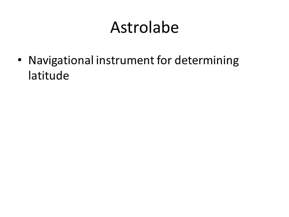 Astrolabe Navigational instrument for determining latitude