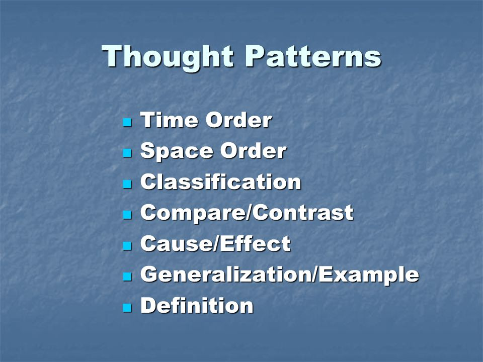 Thought Patterns Time Order Time Order Space Order Space Order Classification Classification Compare/Contrast Compare/Contrast Cause/Effect Cause/Effect Generalization/Example Generalization/Example Definition Definition