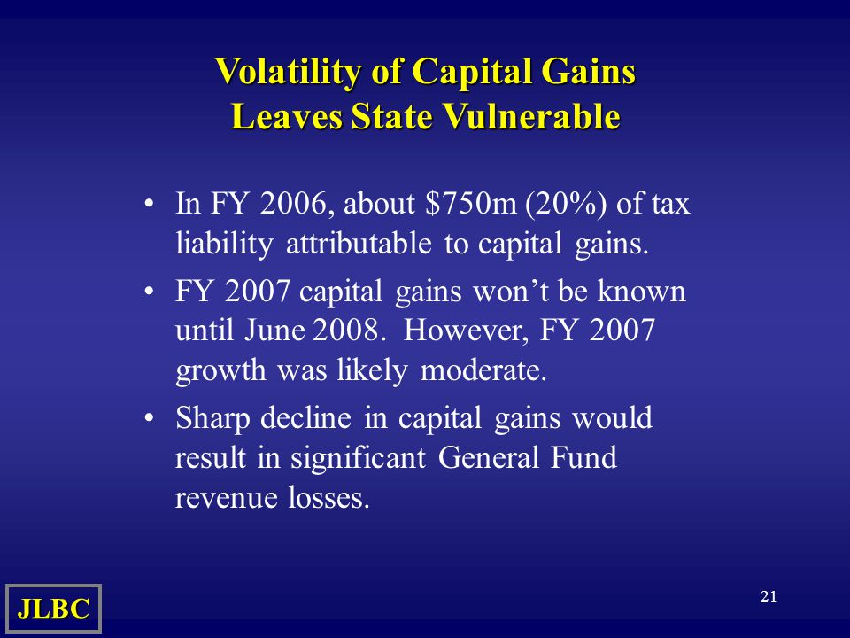 21 Volatility of Capital Gains Leaves State Vulnerable In FY 2006, about $750m (20%) of tax liability attributable to capital gains.