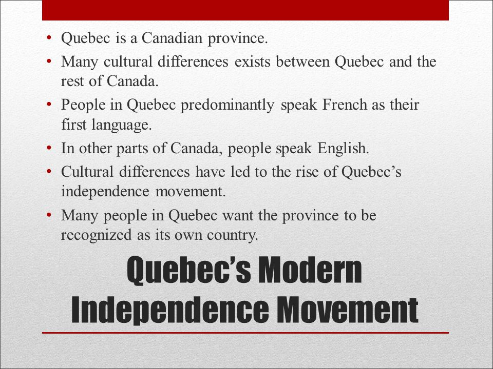 What is the difference between people from Quebec and other Canadians?