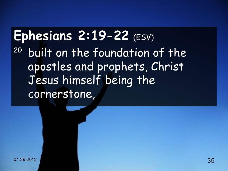 Ephesians 2:19-22 (ESV) 20 built on the foundation of the apostles and prophets, Christ Jesus himself being the cornerstone,