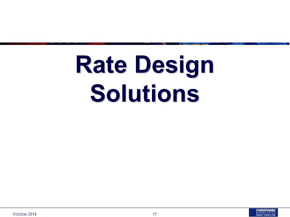 Rate Design Solutions October
