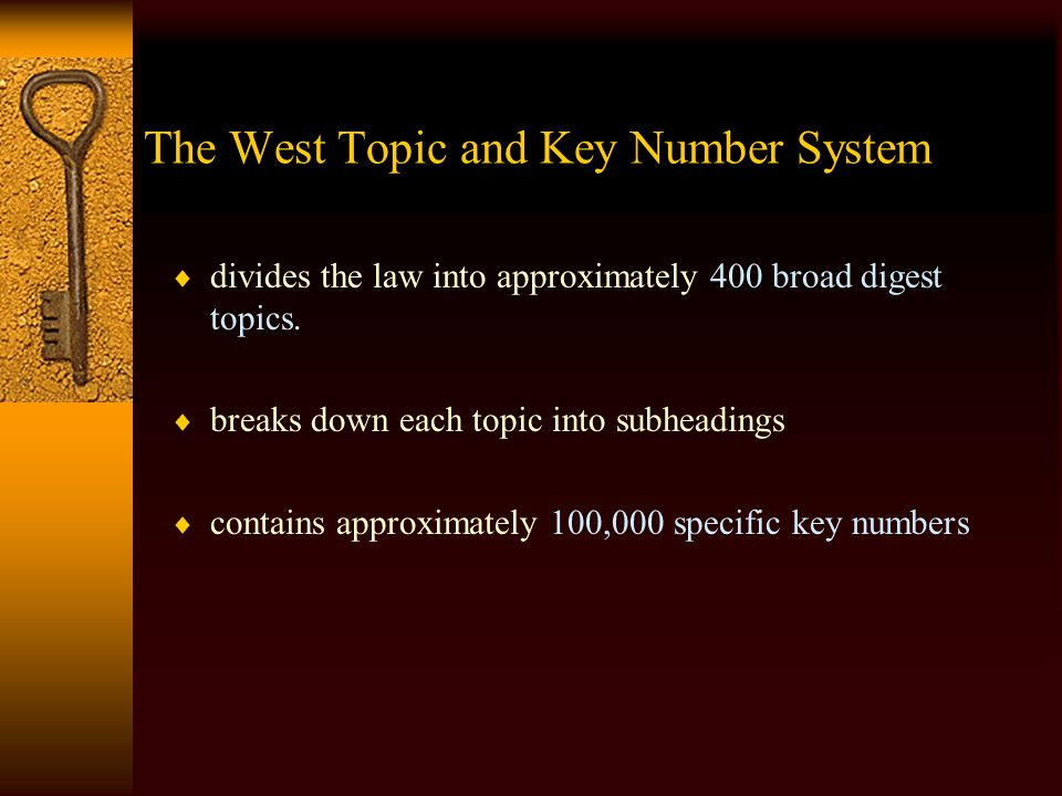 The West Topic and Key Number System  is an extensive outline of the entire body of case law in this country.