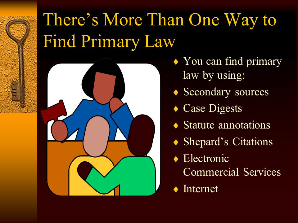 Legal Research  Goals in legal research – –Find primary authority –Find binding precedent  Primary authority – cases, statutes, constitutions, regulations