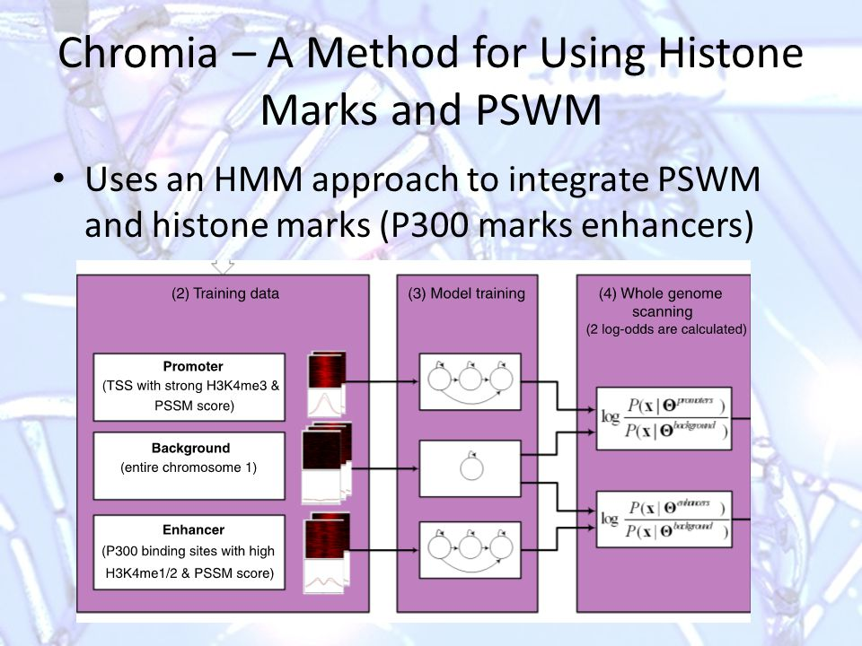 Chromia – A Method for Using Histone Marks and PSWM Uses an HMM approach to integrate PSWM and histone marks (P300 marks enhancers)