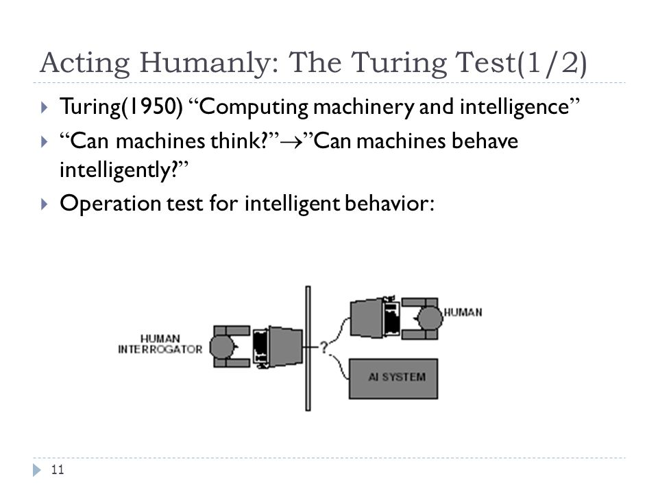 Acting Humanly: The Turing Test(1/2) 11  Turing(1950) Computing machinery and intelligence  Can machines think.