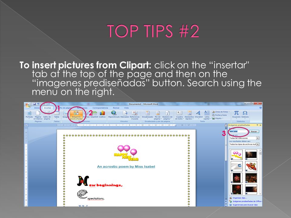 "To insert pictures from Clipart: click on the ""insertar"