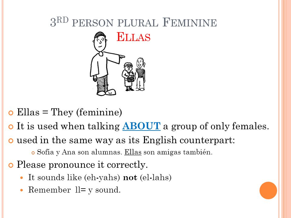 3 RD PERSON PLURAL F EMININE E LLAS Ellas = They (feminine) It is used when talking ABOUT a group of only females. used in the same way as its English