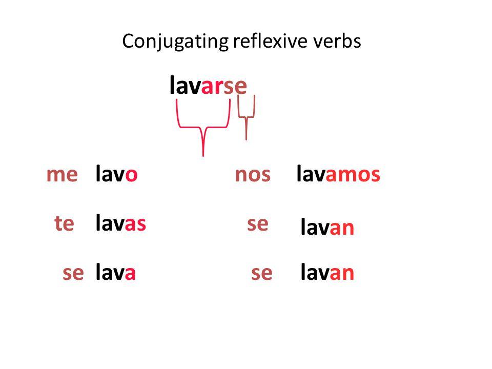 Conjugating reflexive verbs lavarse lavo lavas lava lavamos lavan me te se nos se