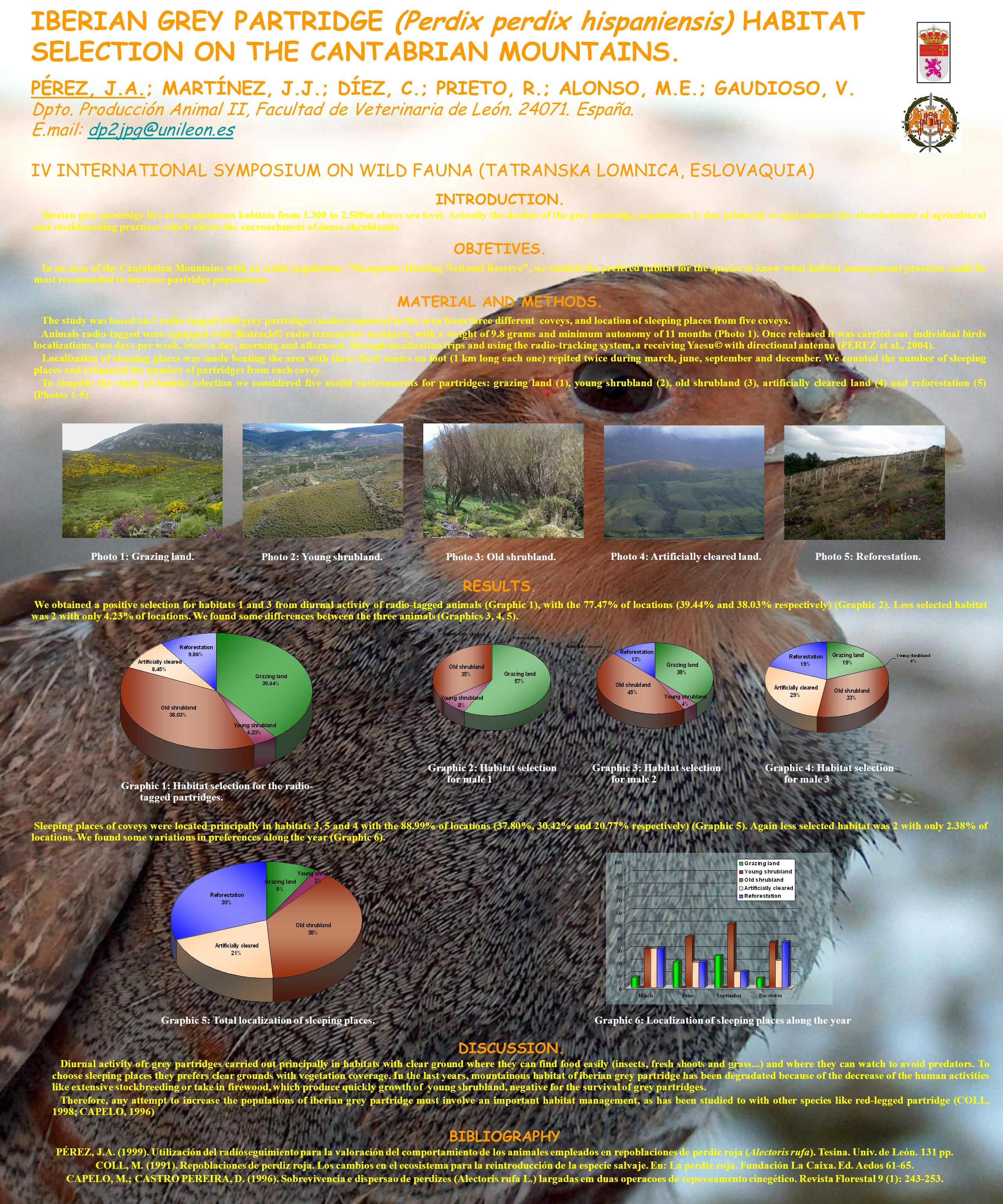 IBERIAN GREY PARTRIDGE (Perdix perdix hispaniensis) HABITAT SELECTION ON THE CANTABRIAN MOUNTAINS. PÉREZ, J.A.; MARTÍNEZ, J.J.; DÍEZ, C.; PRIETO, R.;
