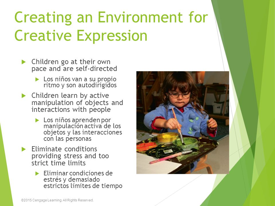 Creating an Environment for Creative Expression  Children go at their own pace and are self-directed  Los niños van a su propio ritmo y son autodiri
