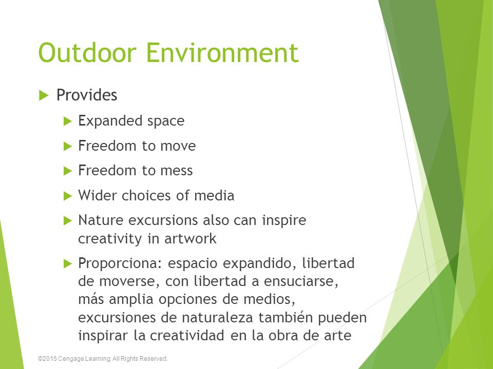 Outdoor Environment  Provides  Expanded space  Freedom to move  Freedom to mess  Wider choices of media  Nature excursions also can inspire crea
