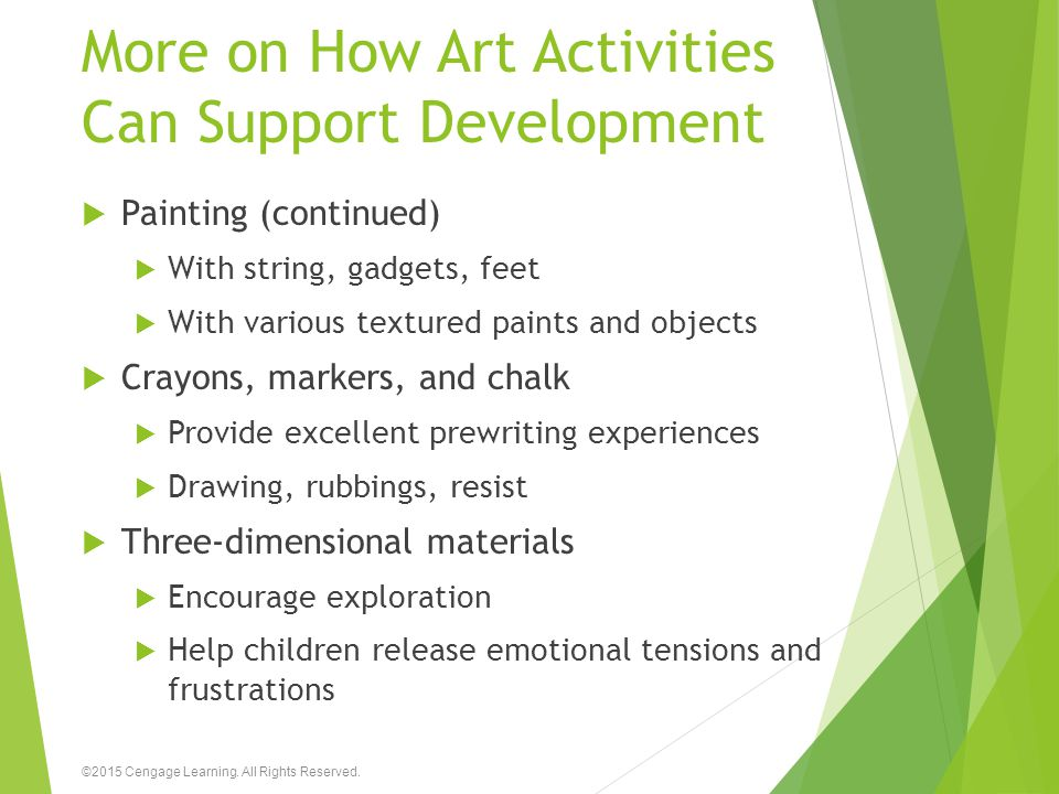 More on How Art Activities Can Support Development  Painting (continued)  With string, gadgets, feet  With various textured paints and objects  Cr