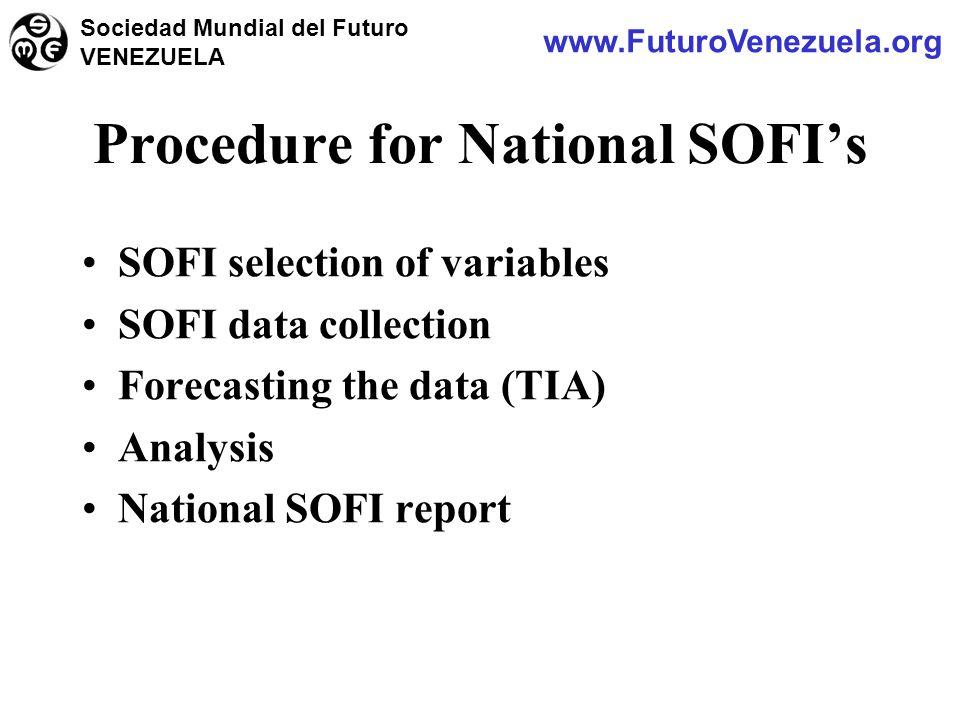 SOFI selection of variables SOFI data collection Forecasting the data (TIA) Analysis National SOFI report Procedure for National SOFI's www.FuturoVenezuela.org Sociedad Mundial del Futuro VENEZUELA