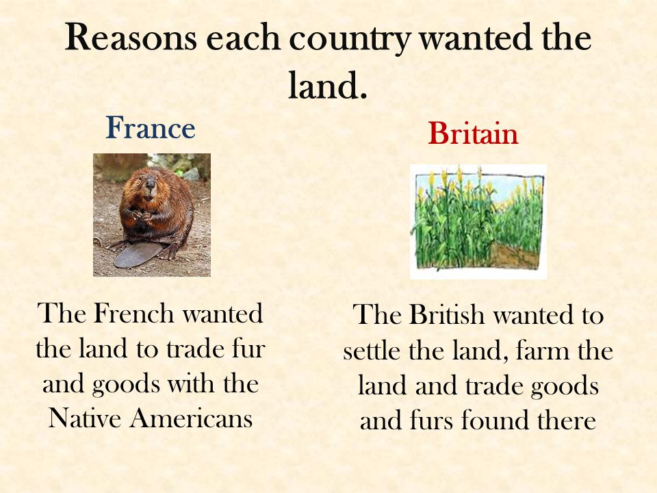 Reasons each country wanted the land.