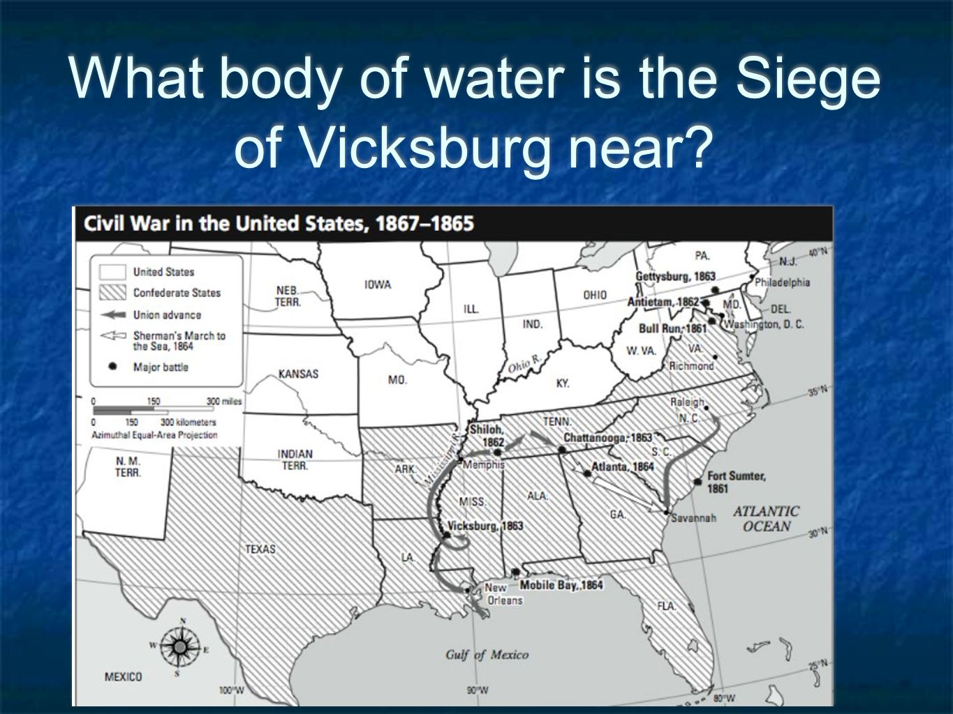 What body of water is the Siege of Vicksburg near