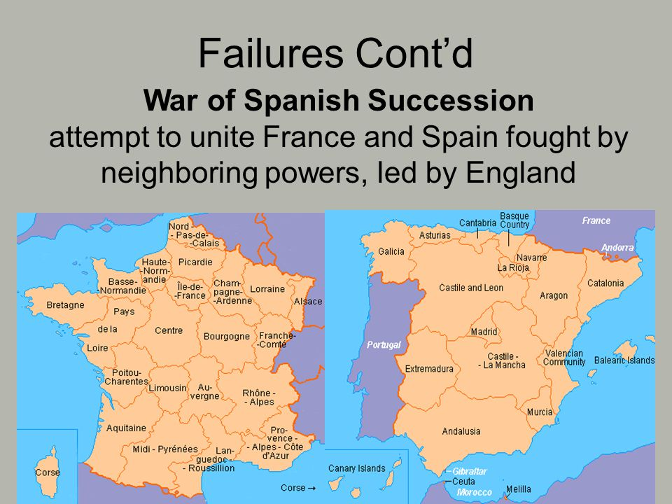 Failures Cont'd War of Spanish Succession attempt to unite France and Spain fought by neighboring powers, led by England