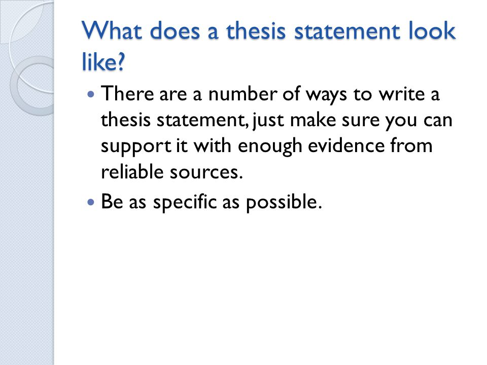 What Should A Thesis Statement Look Like
