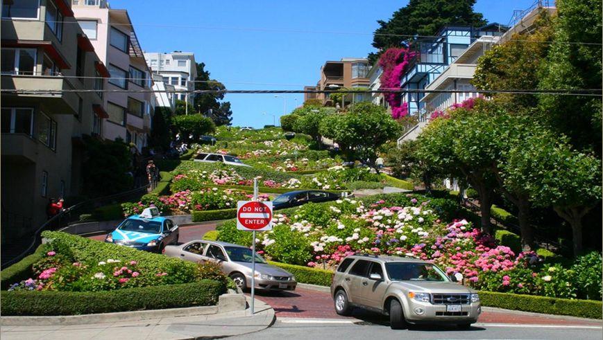 Lombard Street ses 8 virages son jardin