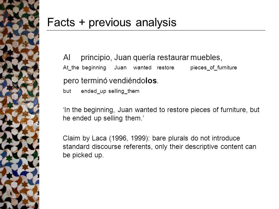 Facts + previous analysis Al principio, Juan quería restaurar muebles, At_the beginning Juan wanted restore pieces_of_furniture pero terminó vendiéndo